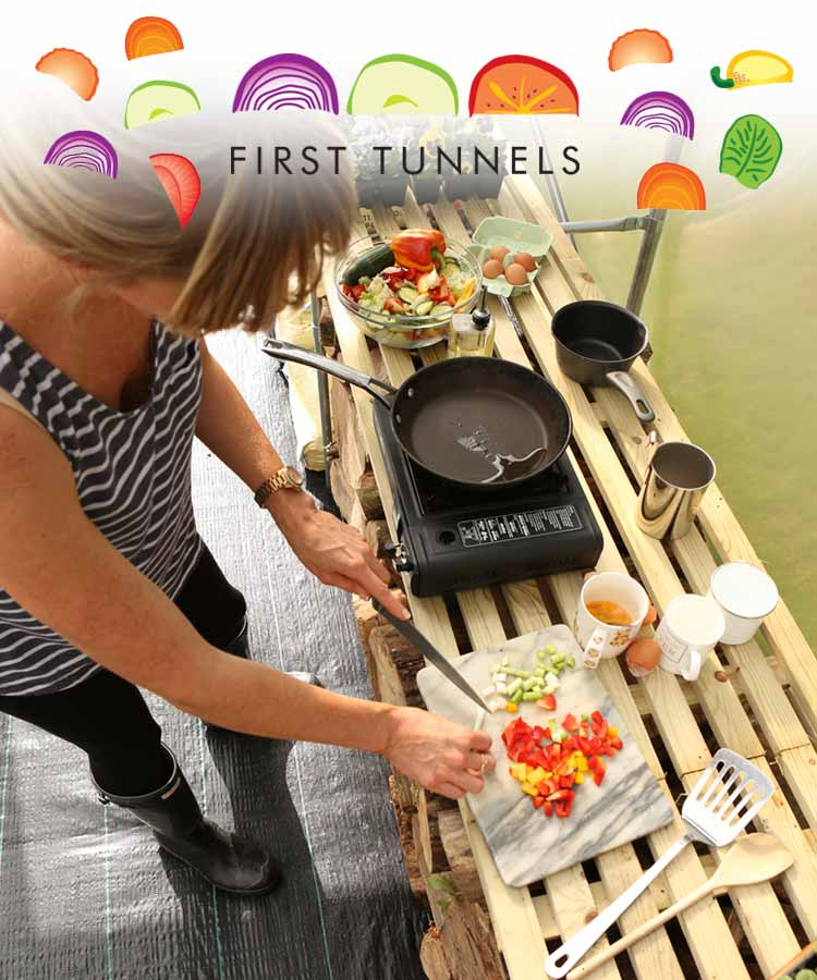 cooking in a polytunnel